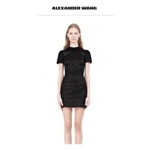 ALEXANDER WANG SHINY MOCK NECK SCUBA DRESS